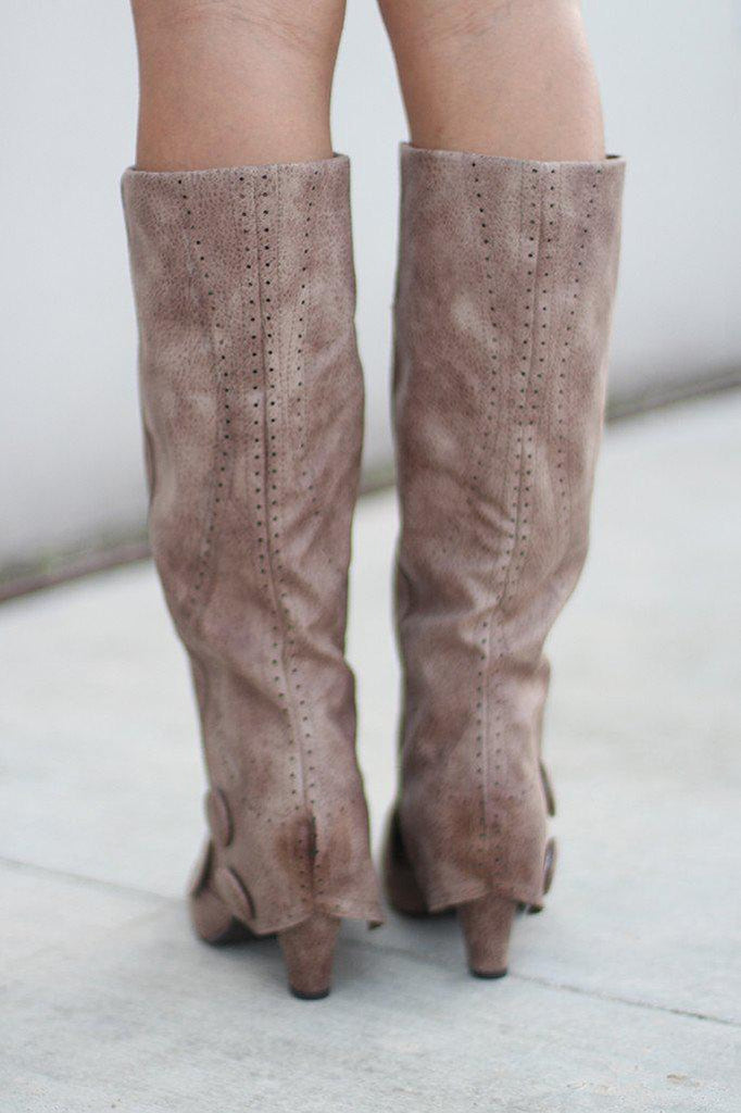 taupe faux leather boots