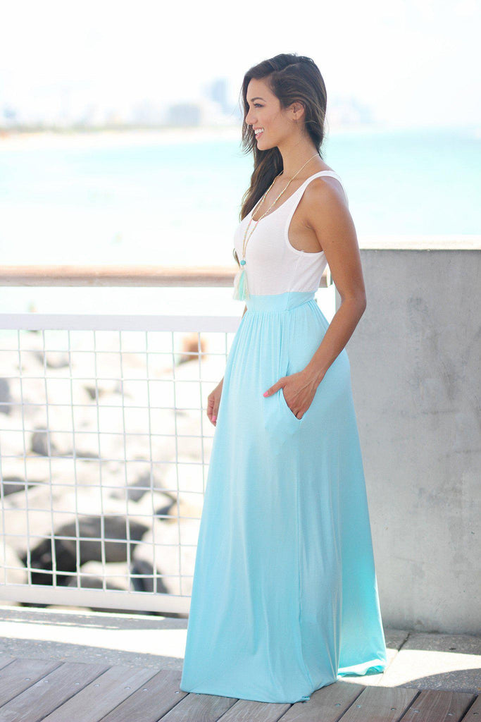 ivory and blue dress with pockets