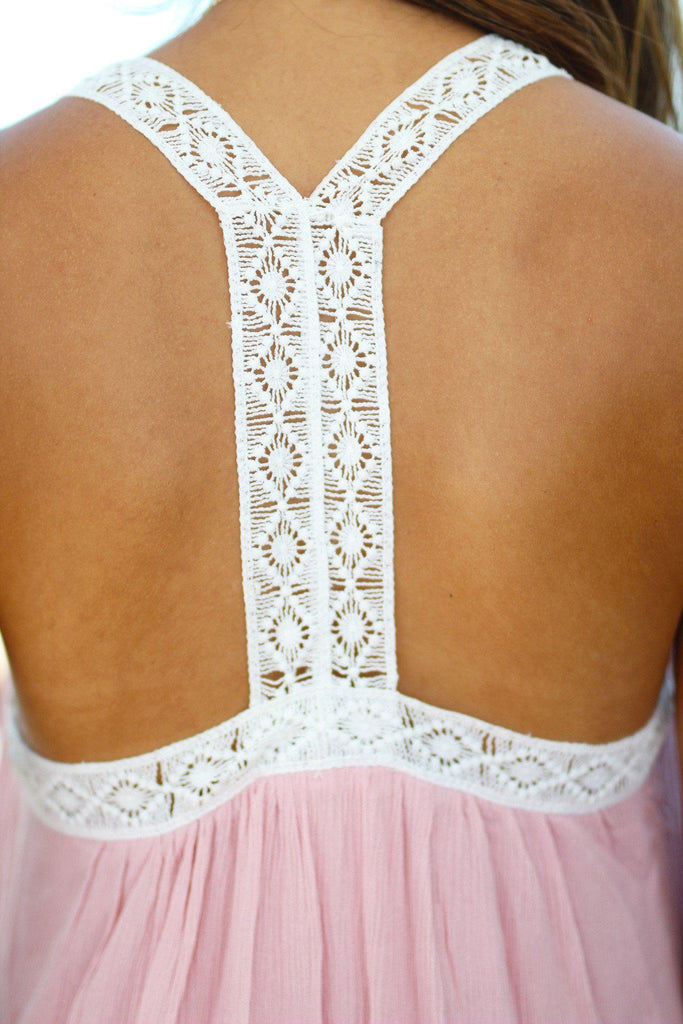 pink crochet trim dress