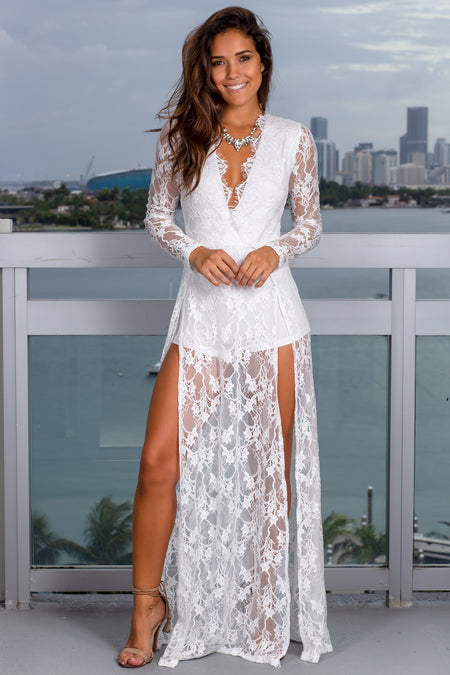 White Lace Maxi Romper with Slits