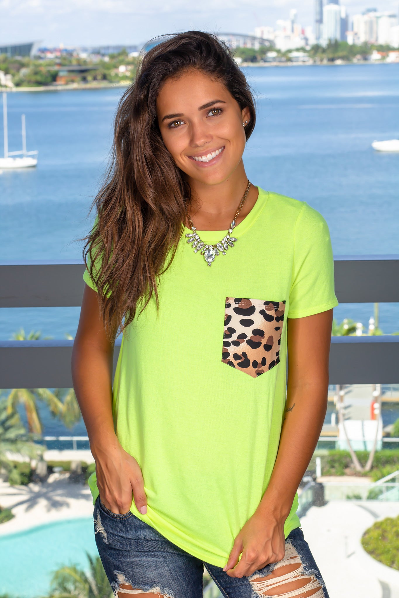 Neon Yellow Top with Leopard Pocket