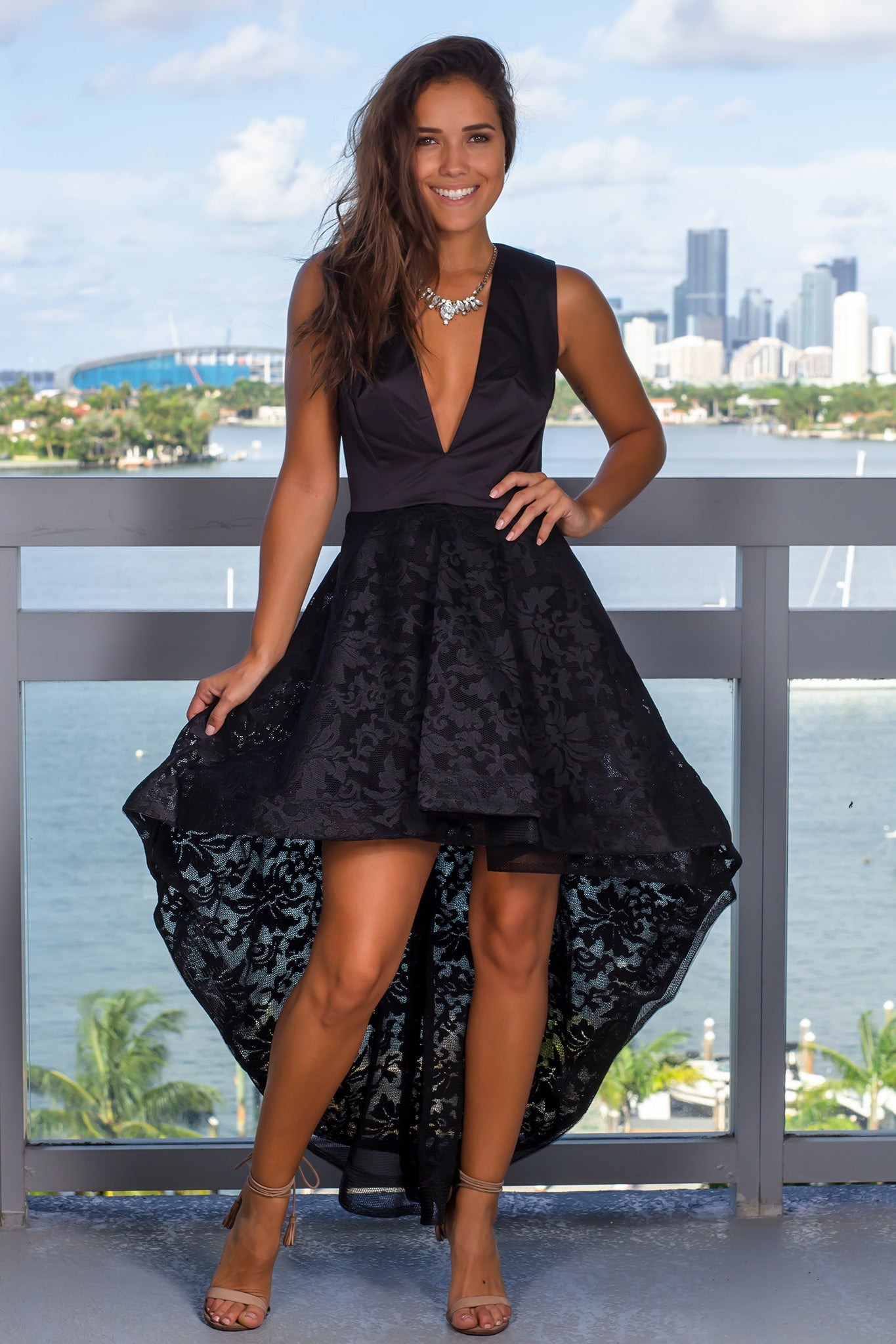 Black Lace High Low Dress