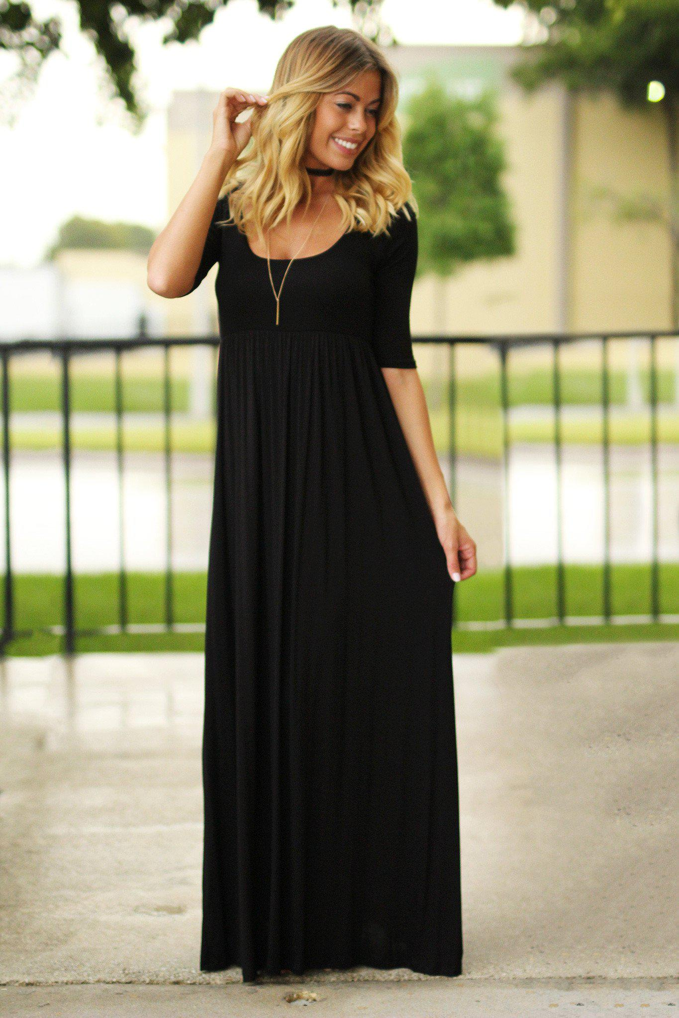 Black Maxi Dress with 3/4 Sleeves | Black Long Dress | Casual Maxi ...