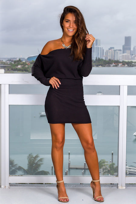 Black Knit Short Dress