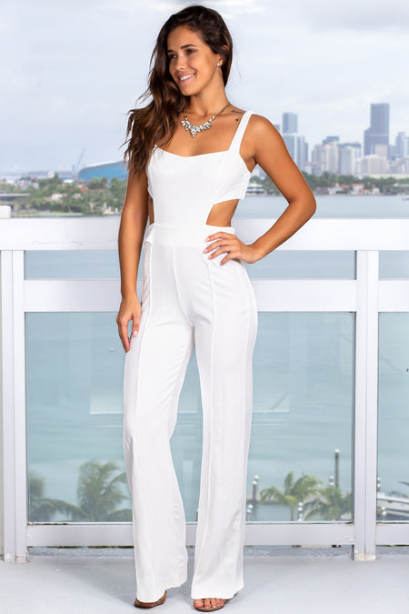 Off White Jumpsuit with Button Detail