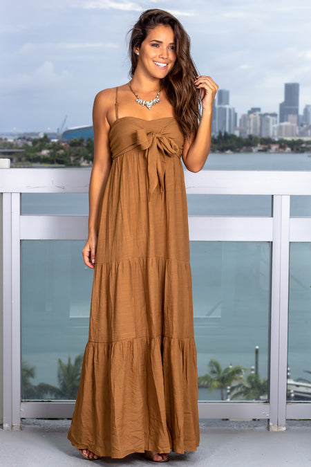 Brown Maxi Dress with Tie Front
