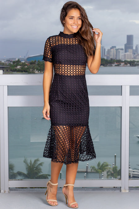 Black Crochet Midi Dress