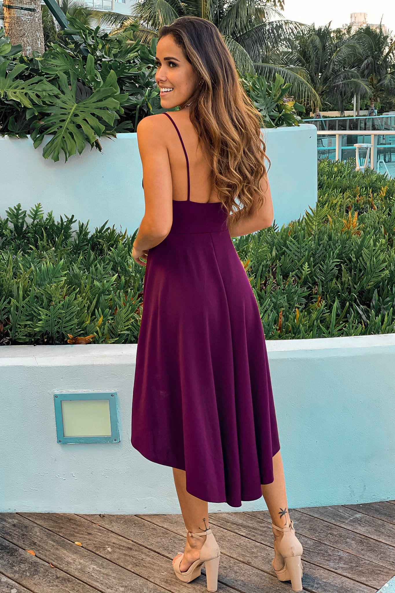 Burgundy Pleated High Low Dress