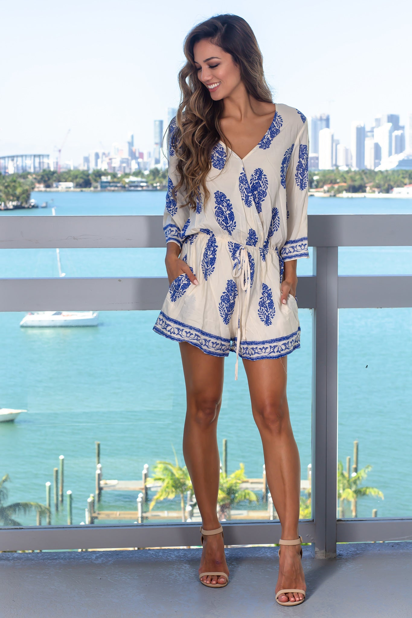 Ivory and Blue Printed Romper