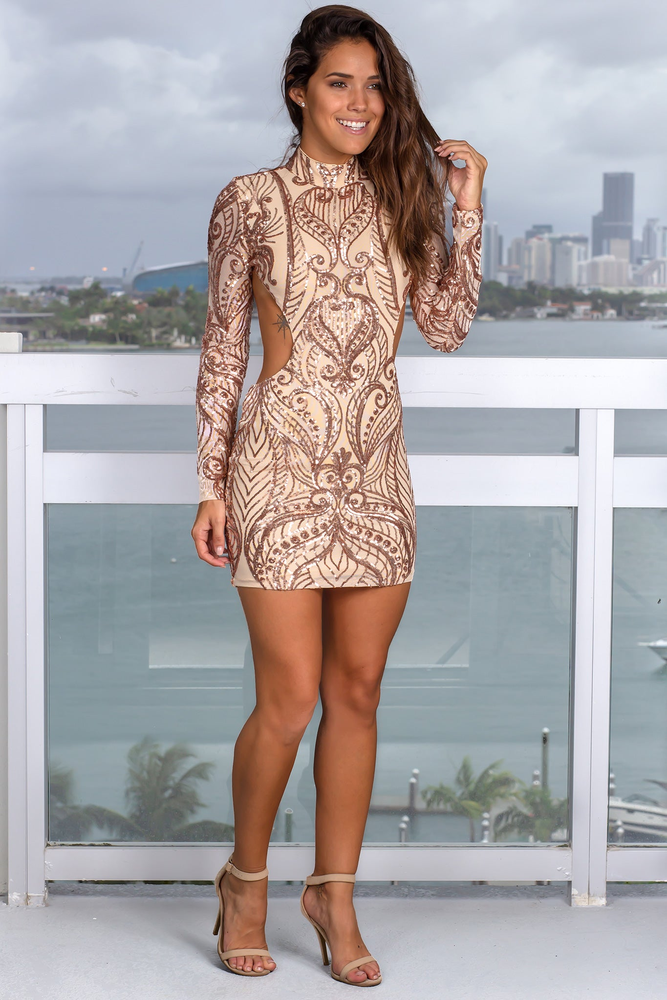 Rose Gold High Neck Sequin Short Dress