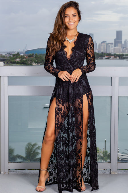 Black Lace Shimmer Maxi Romper