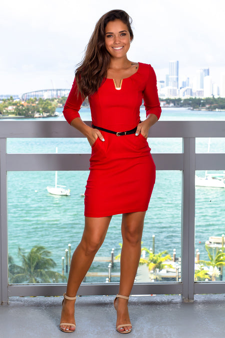 Red Short Dress with Belt and 34 Sleeves