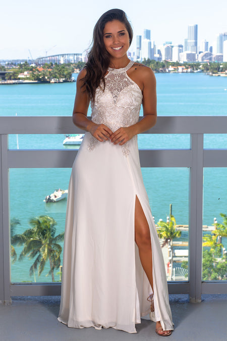 Ivory Halter Neck Maxi Dress with Slit
