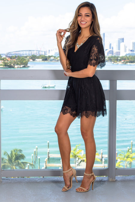 Black Lace Romper with Sleeves
