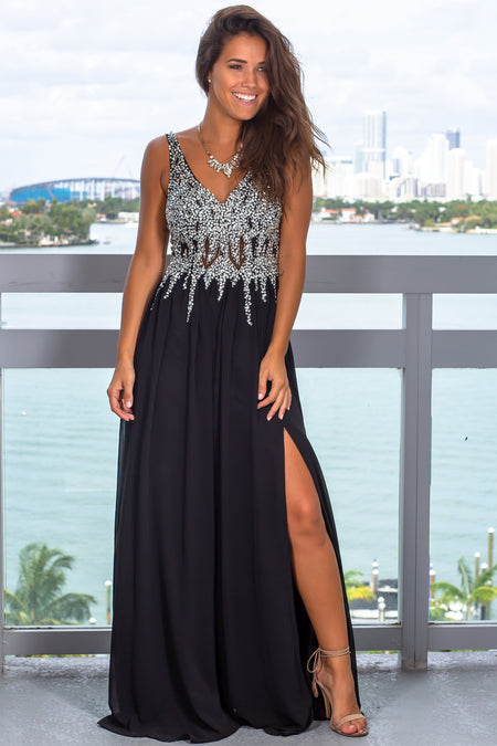 Black Jeweled Top Maxi Dress with Side Slit