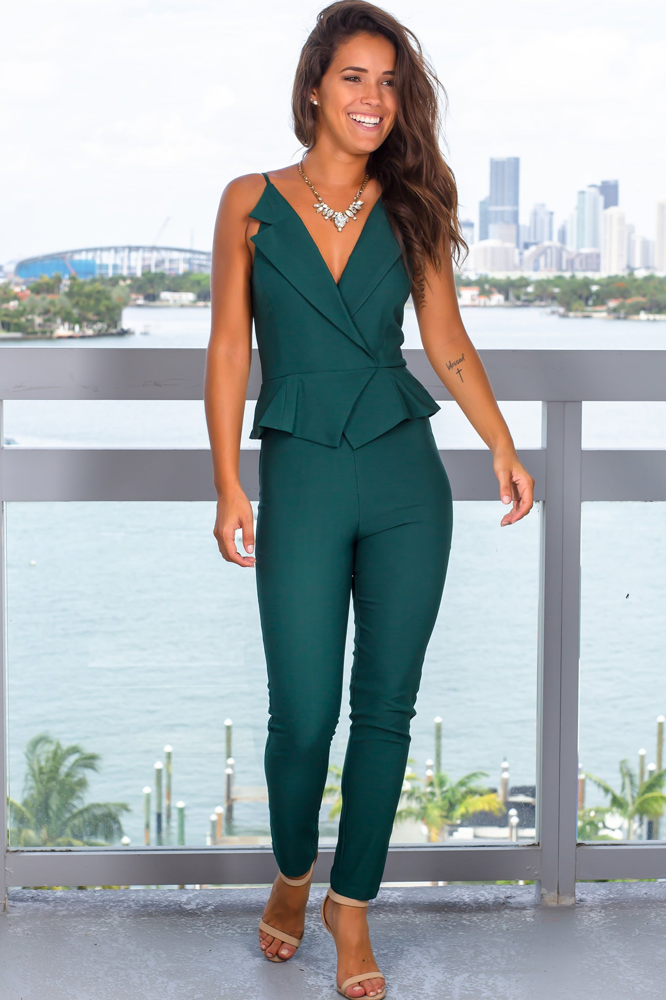 Hunter Green Surplice Jumpsuit