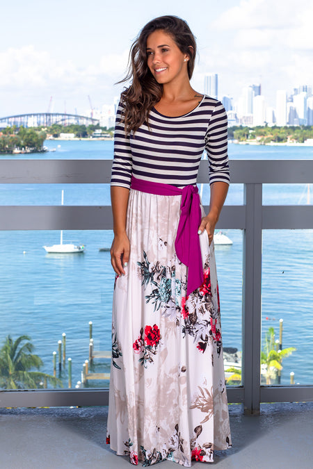 Navy and Ivory Striped Maxi Dress with Floral Skirt