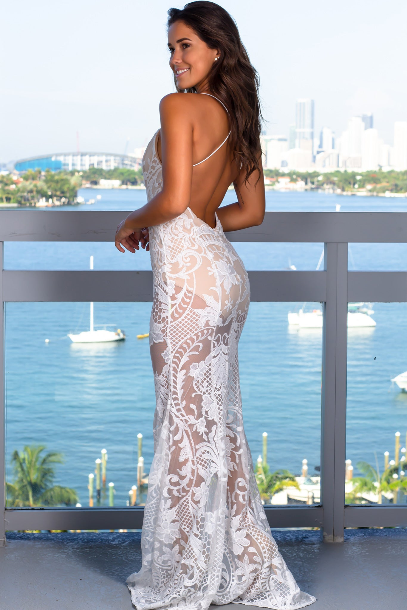 White and Beige Embroidered Maxi Dress with Open Back