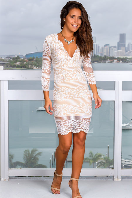 White and Nude Lace Short Dress with Sleeves