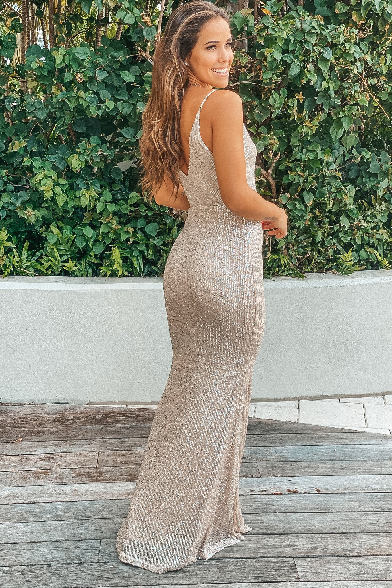 beige and silver formal maxi dress