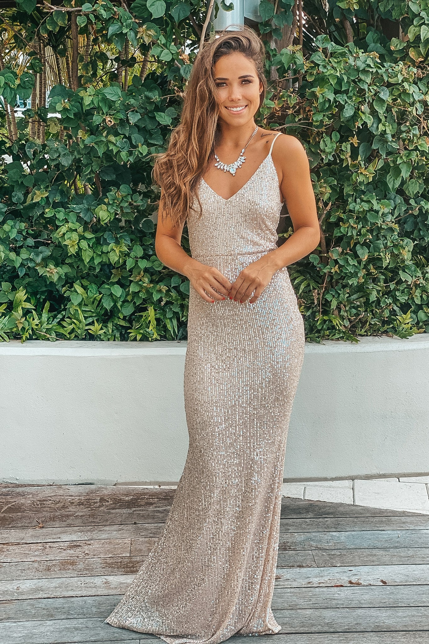 beige and silver sequin maxi dress