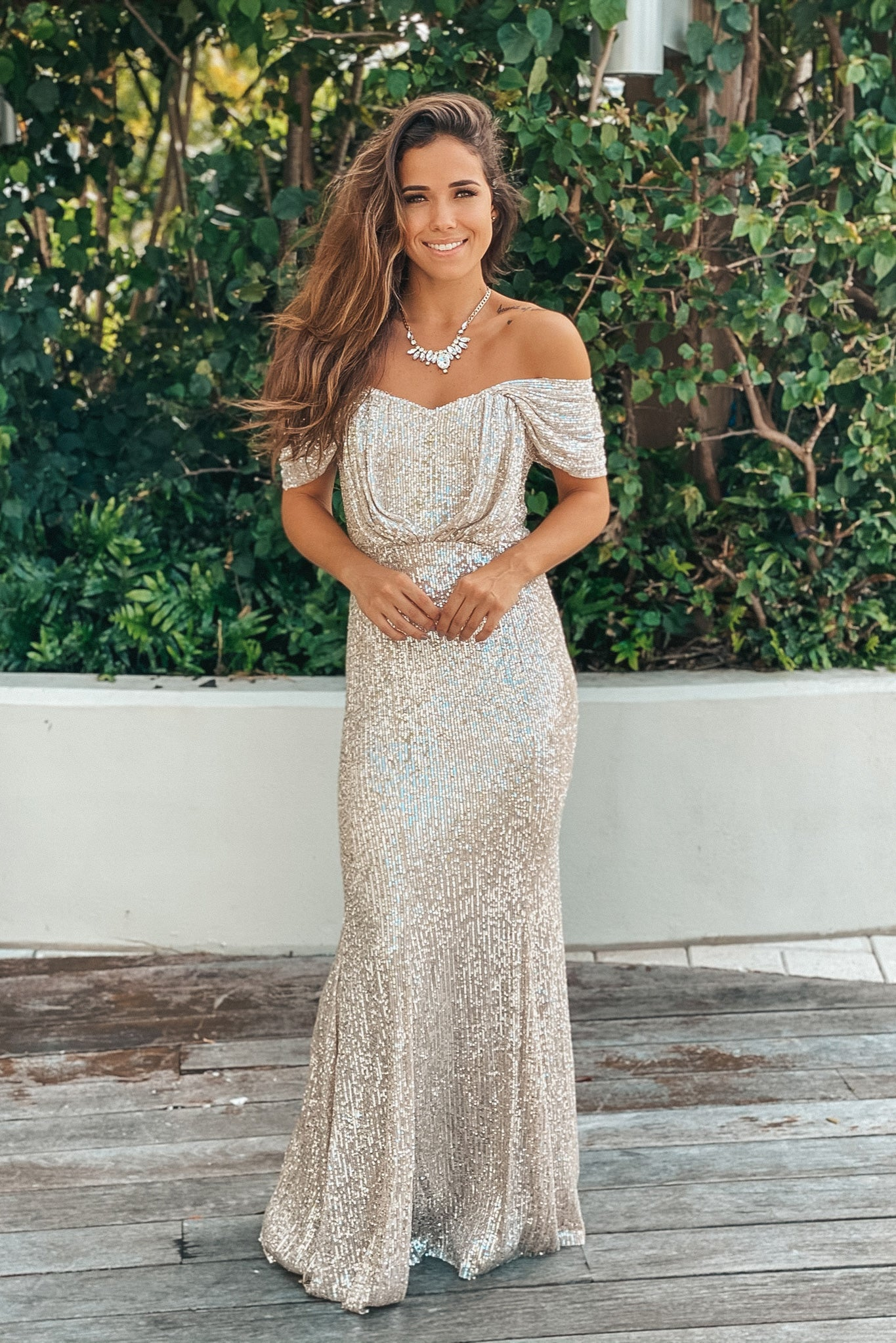 beige and silver sequin off shoulder maxi dress