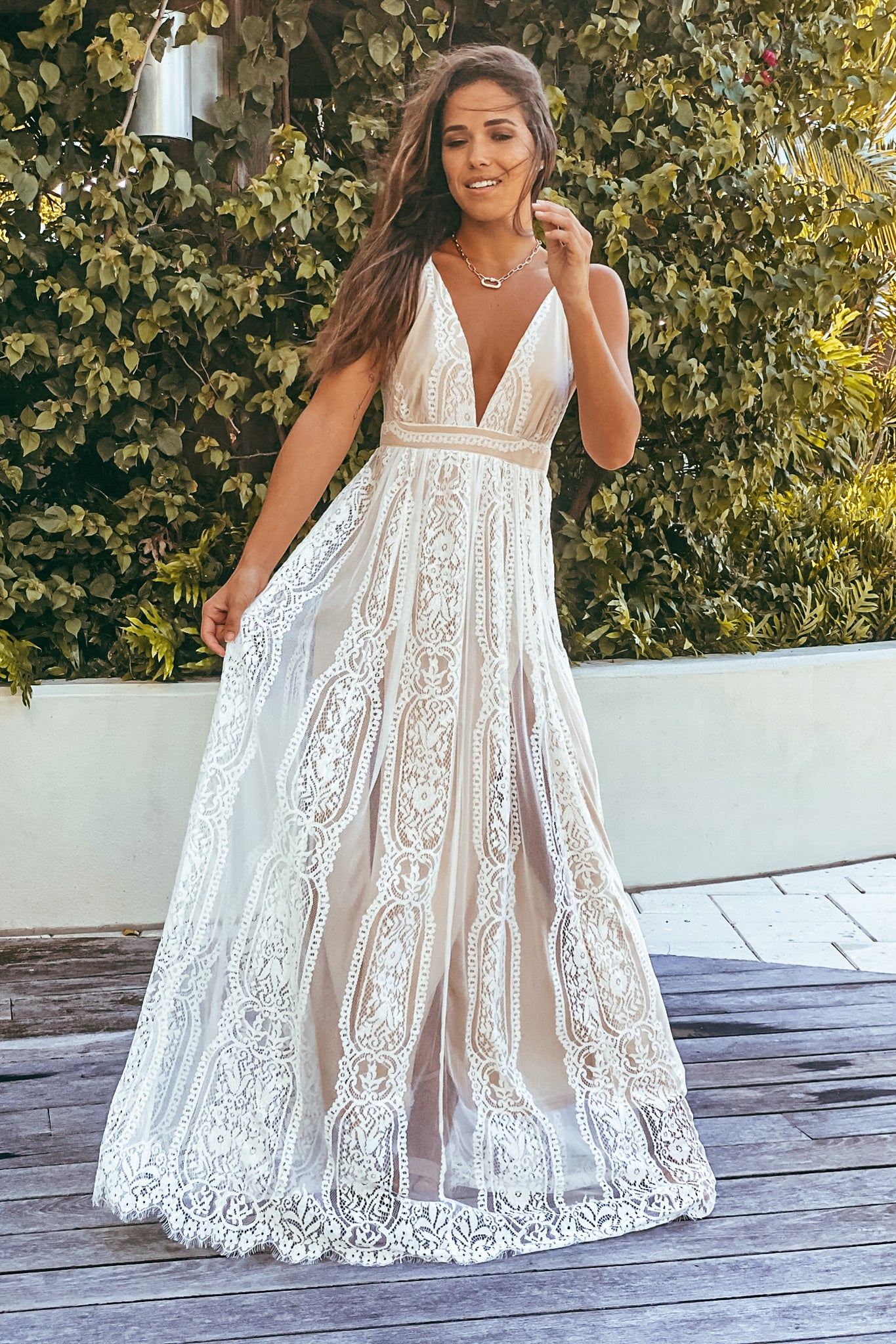 beige and white lace maxi dress