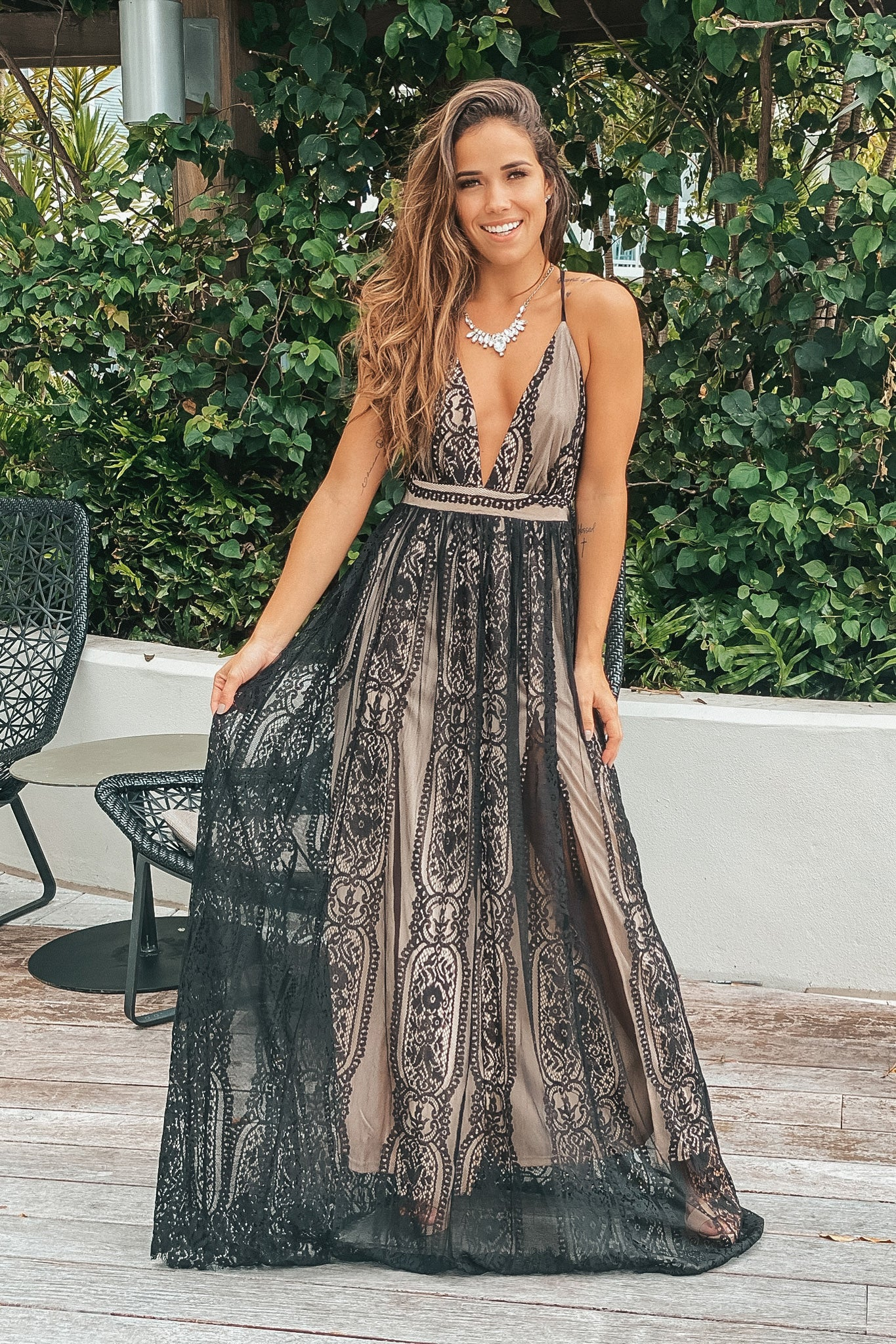 beige and black lace maxi dress