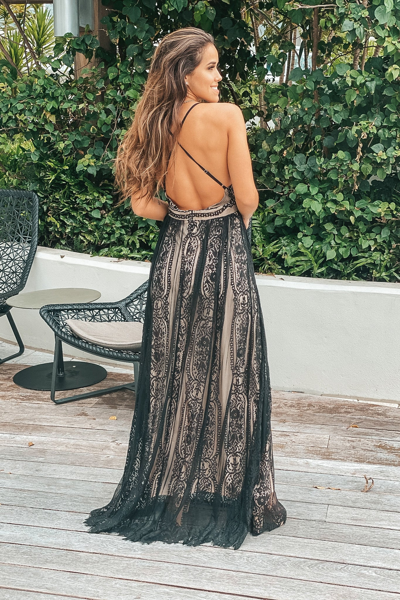 beige and white open back maxi