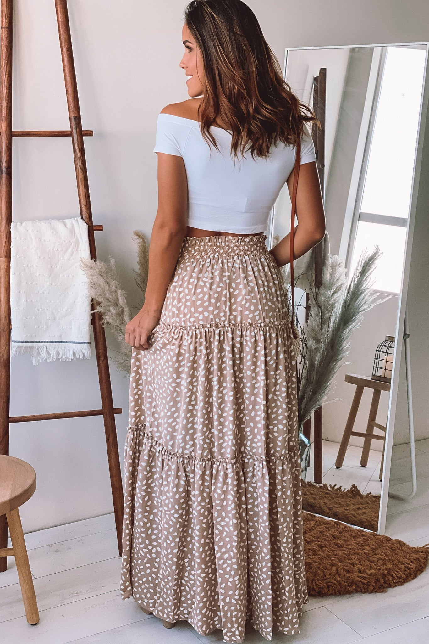 beige and white printed maxi skirt