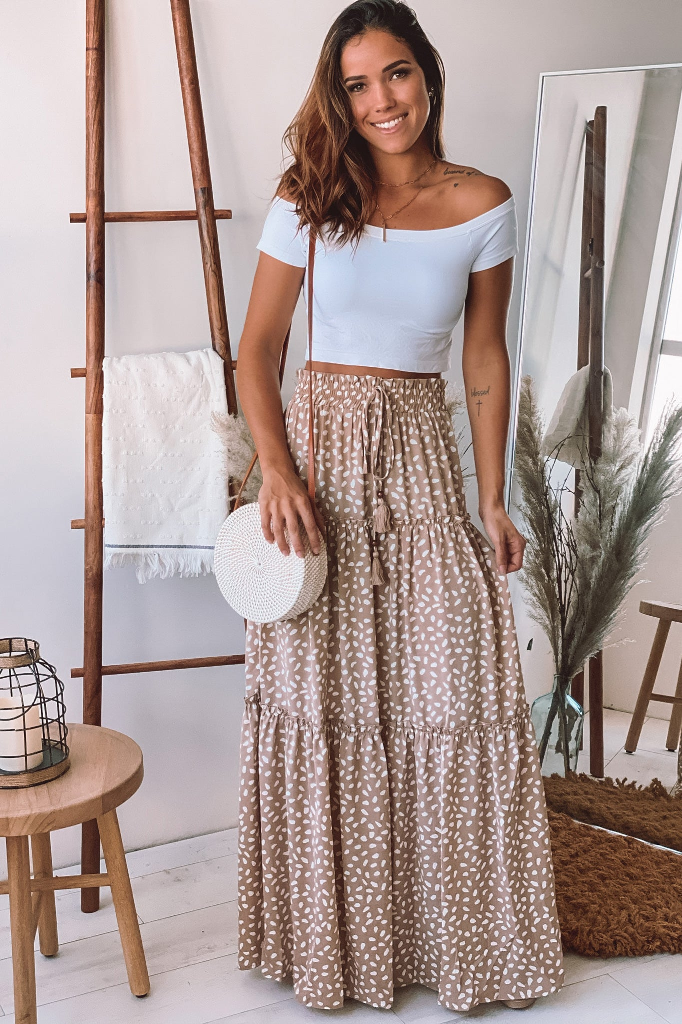 beige and white printed tiered long skirt