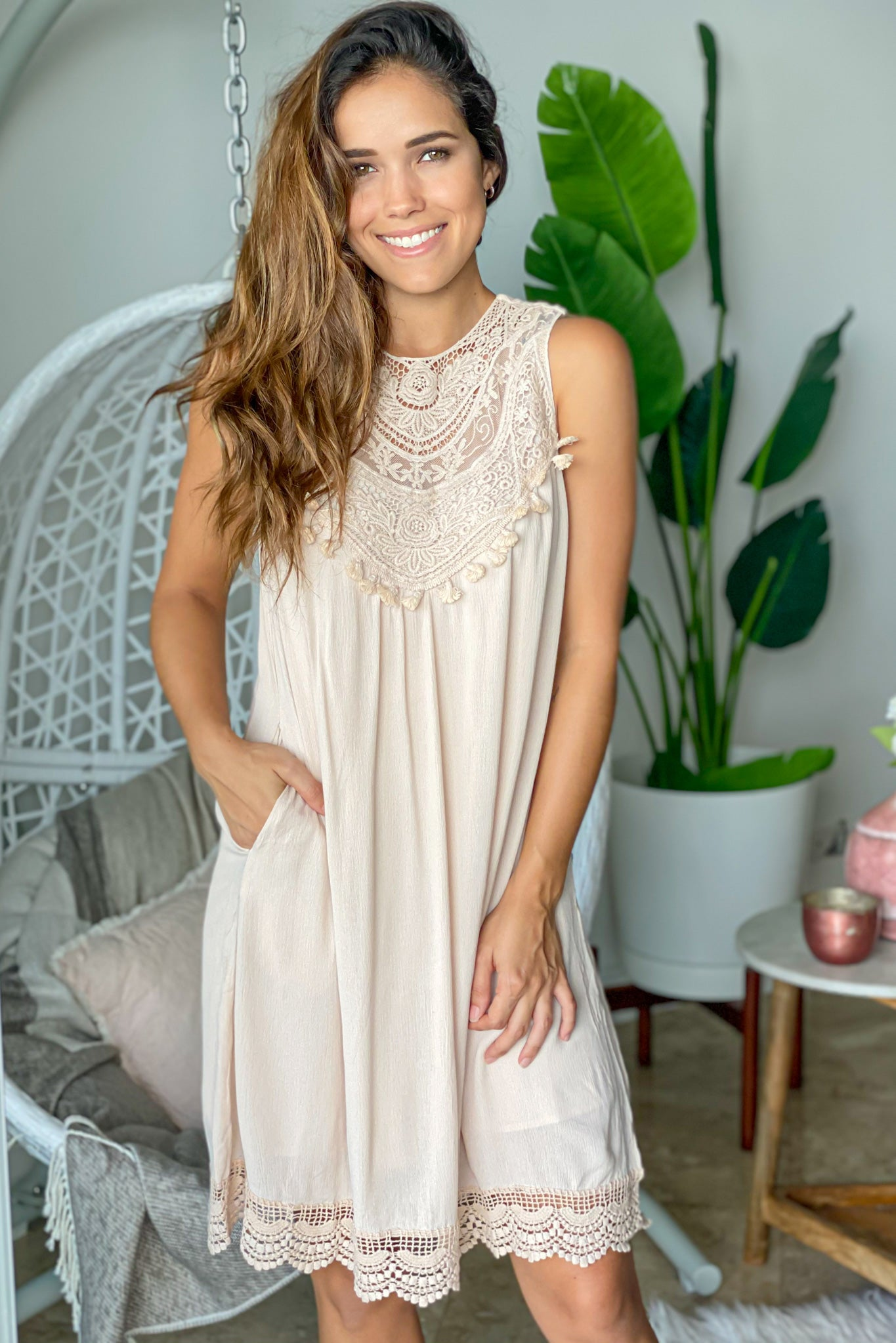 beige crochet top short dress