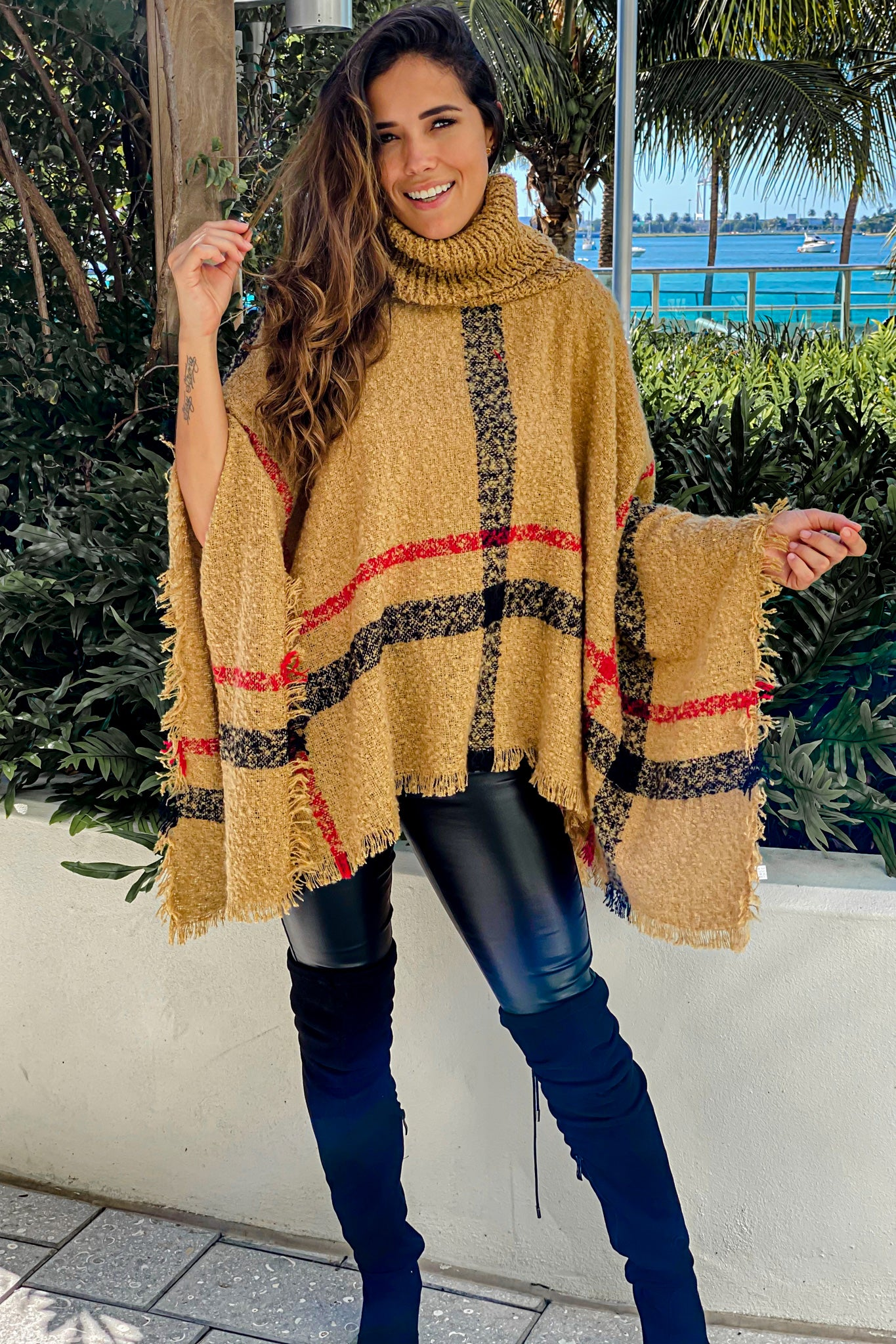 beige plaid turtleneck poncho