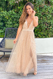 beige polka dot formal maxi dress