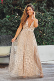 beige polka dot maxi dress with criss cross backl