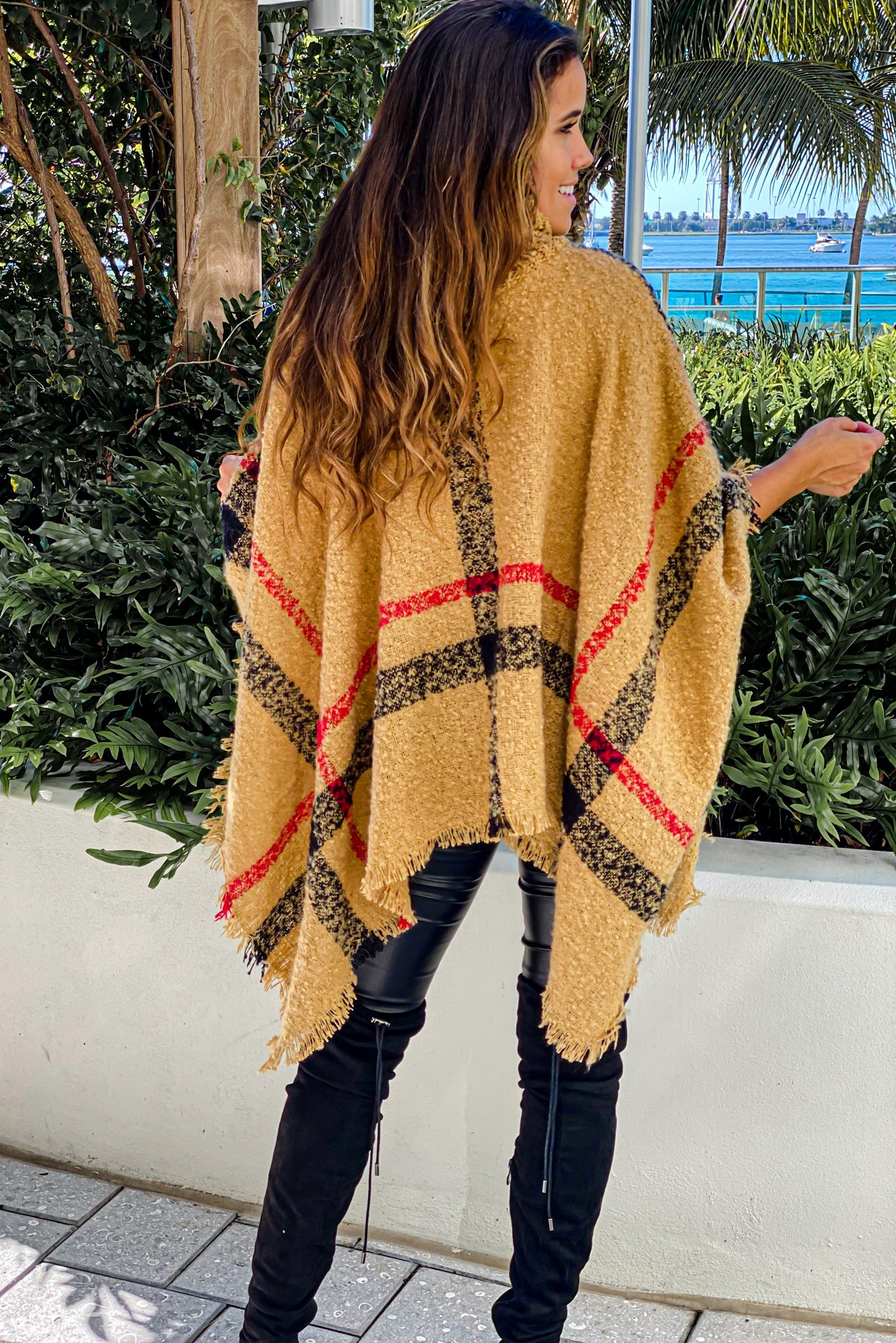 beige turtleneck poncho