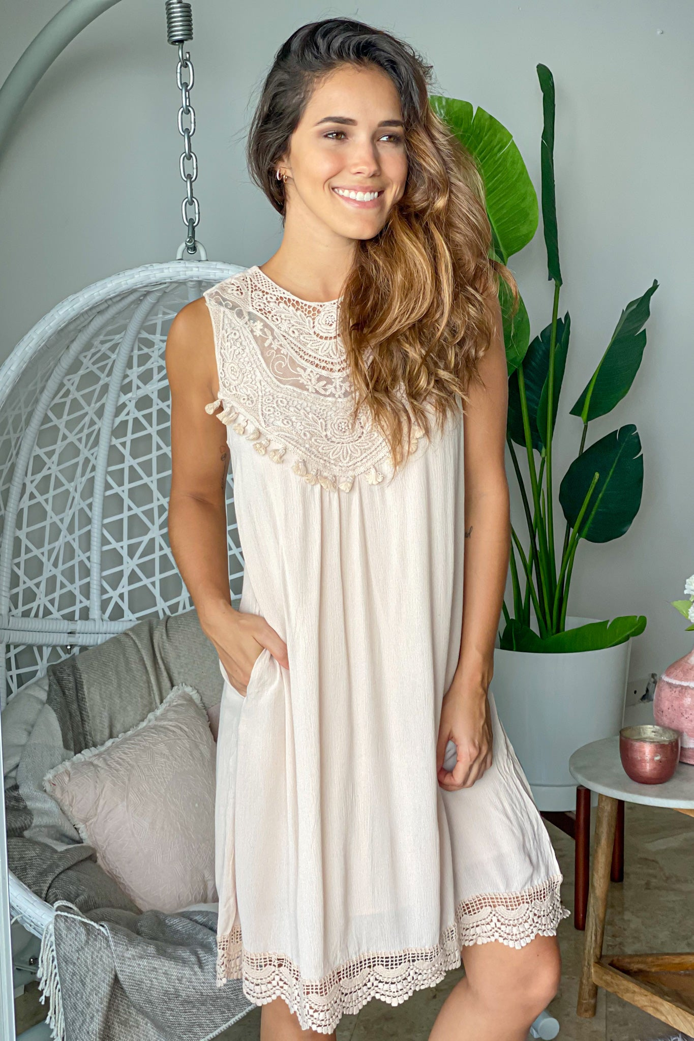 beige vacation dress