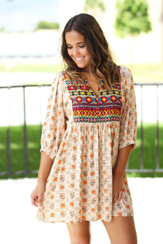 Boho Printed Short Dress