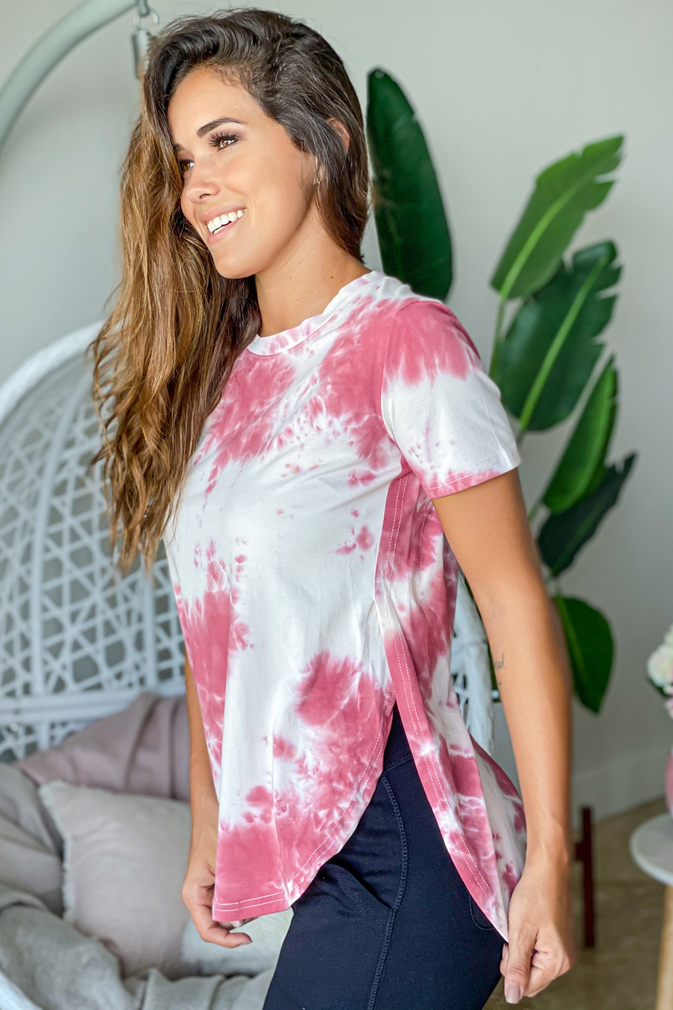 berry tie dye casual top