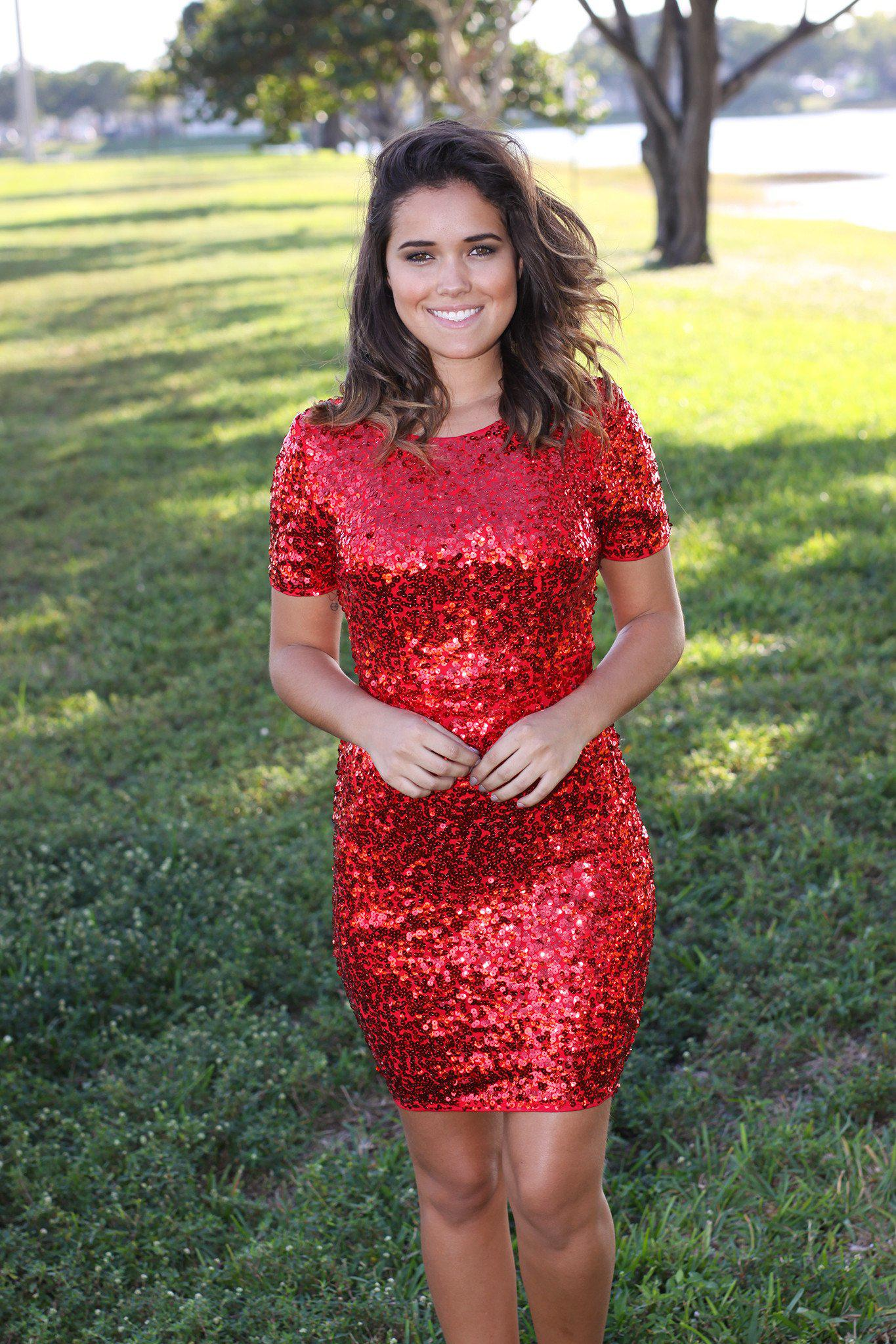 Christmas dress boutiques - Sequined Red Short Dress