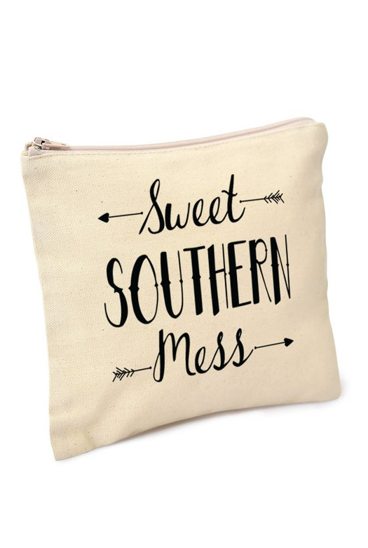 "Natural ""Sweet Southern Mess"" Makeup Bag"