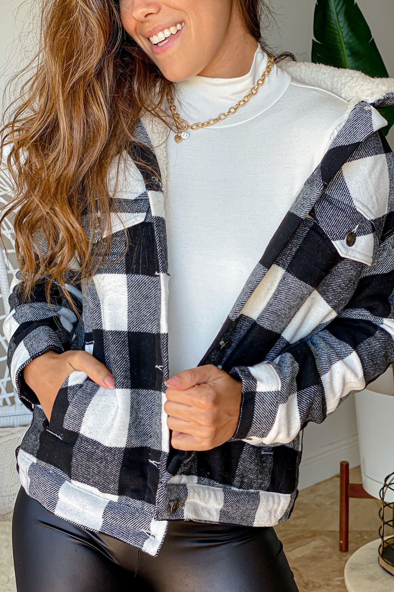 black and white checkered jacket