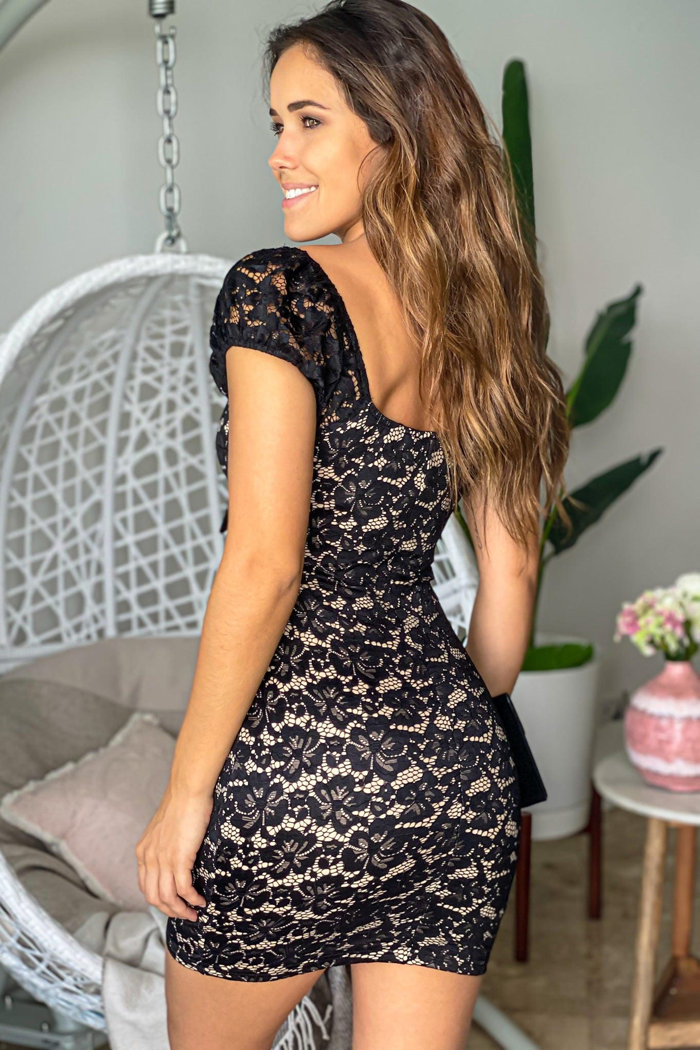 black cocktail short dress