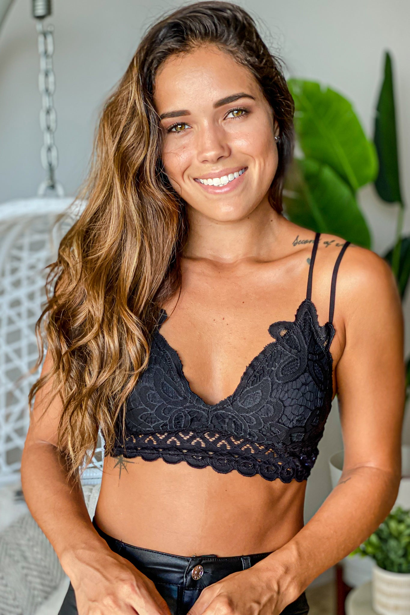 black crochet bralette with criss cross back