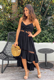 black cute high low dress