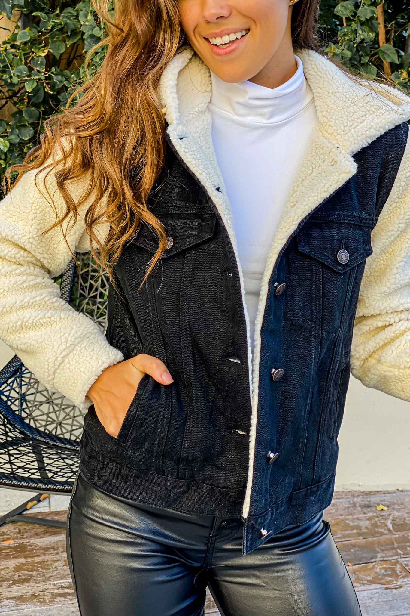 black denim and sherpa jacket with hood