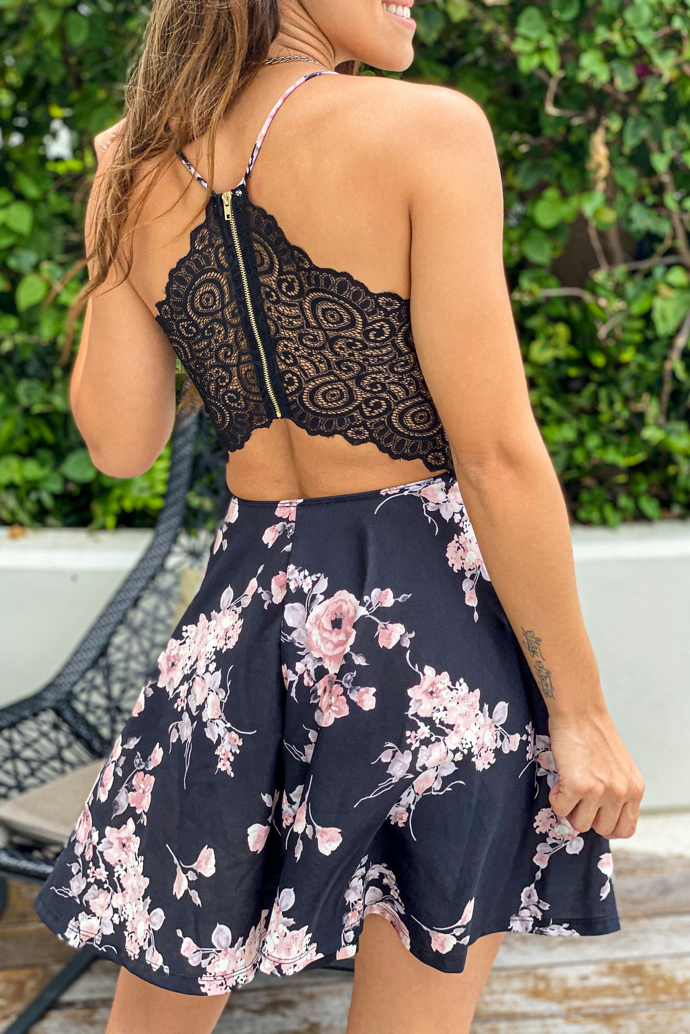 black floral short dress with lace back