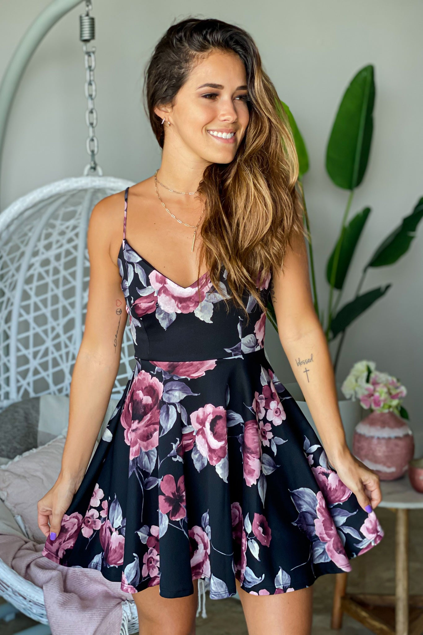 black floral vacation dress