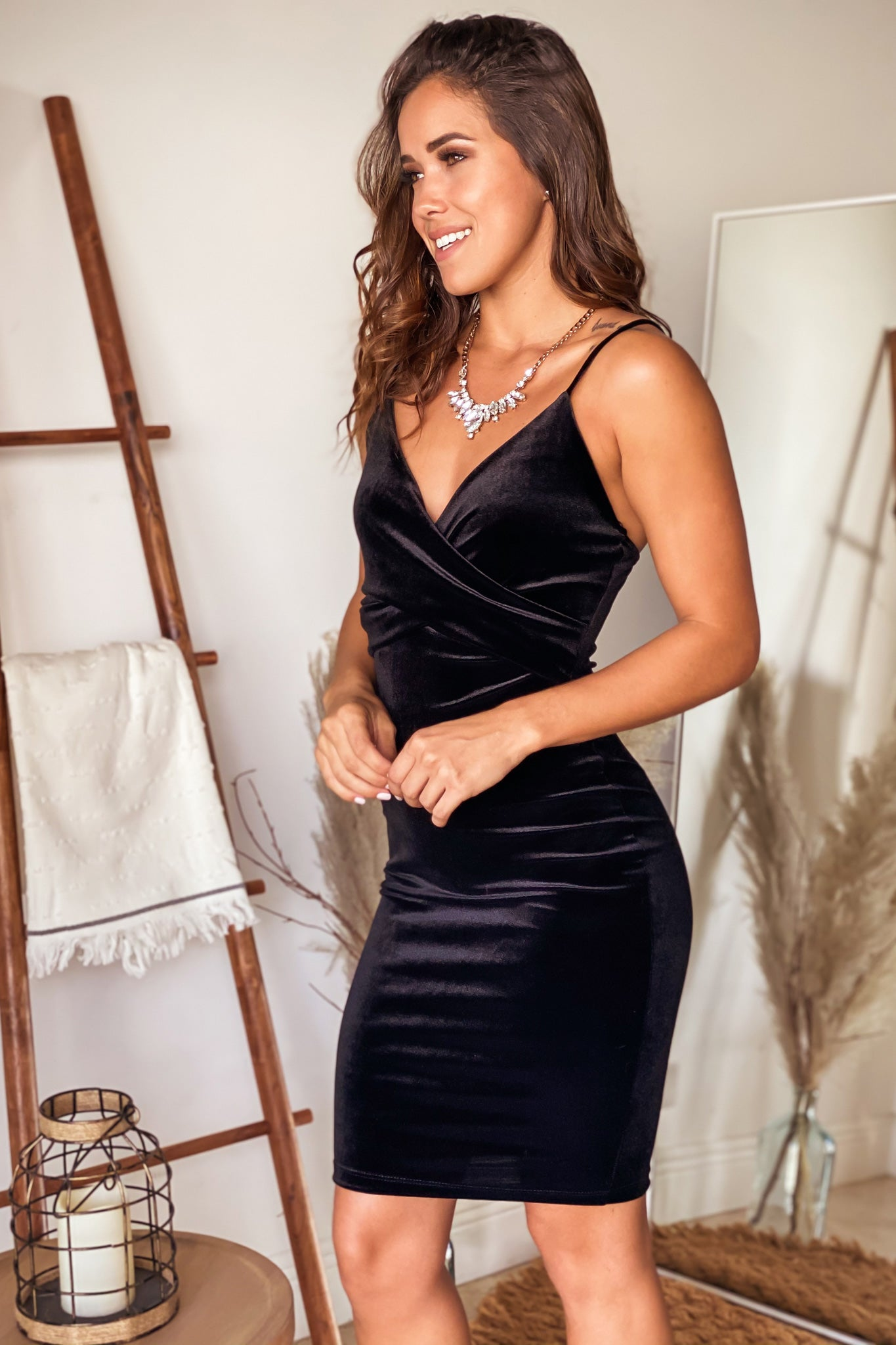 black formal short dress