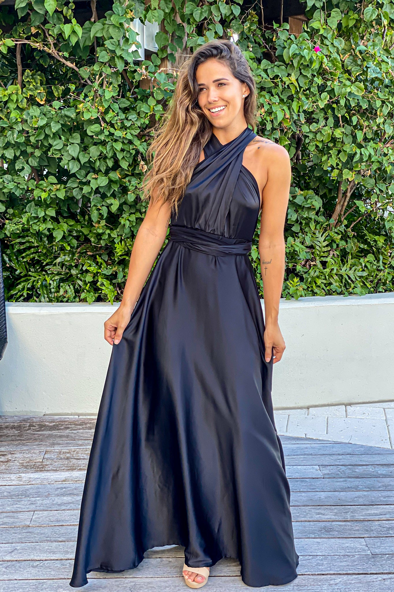 black graduation maxi dress